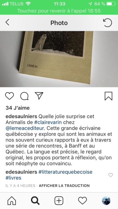 commentaire Élise desaulniers instagram Animalis