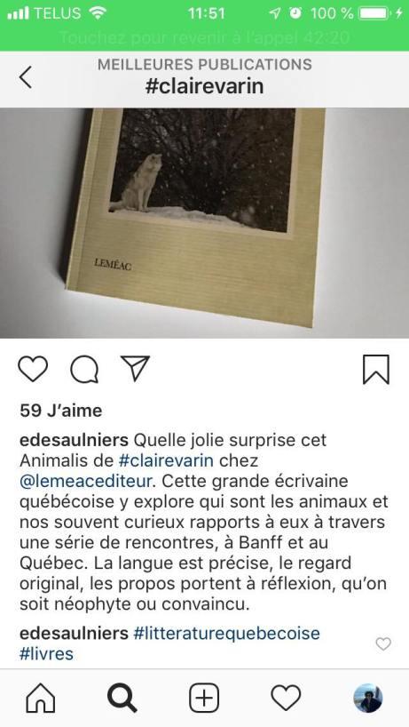 Commentaire d'Élise Desaulniers, auteure et directrice générale de la SPCA sur Animalis de Claire Varin